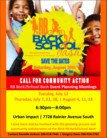 Save Date!  Back 2 School Bash-  Call For Community Action