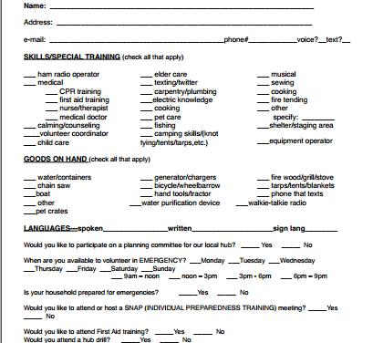 HUB Volunteer Form