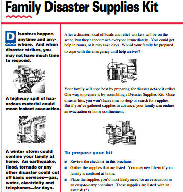 Red Cross Family Disaster Supplies Kit