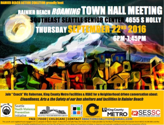 Roaming Town Hall: Cleanliness, Arts & the Safety of our Bus Shelters in Rainier Beach