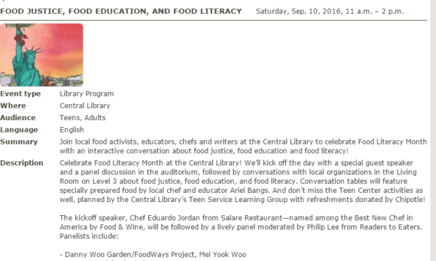 Food Justice, Food Education, and Food Literacy