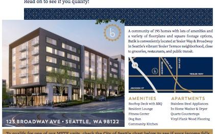 First Come First Serve for 39 Affordable Units at the new Yesler Terrace Development! Tell a friend or submit YOUR application!