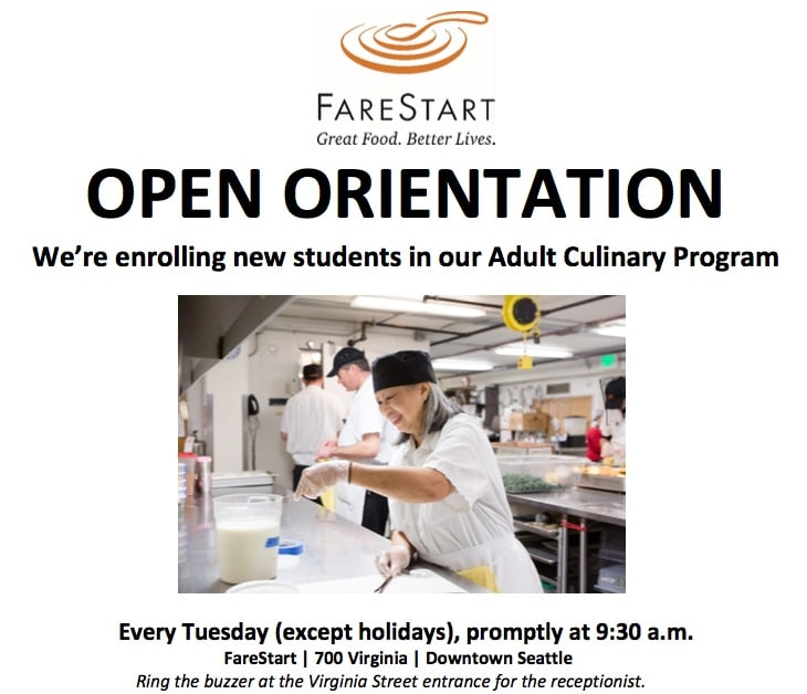 FareStart is NOW Enrolling for Adult Culinary Program!