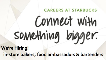 Starbucks Hiring Event! December 12th, 8am – 12pm