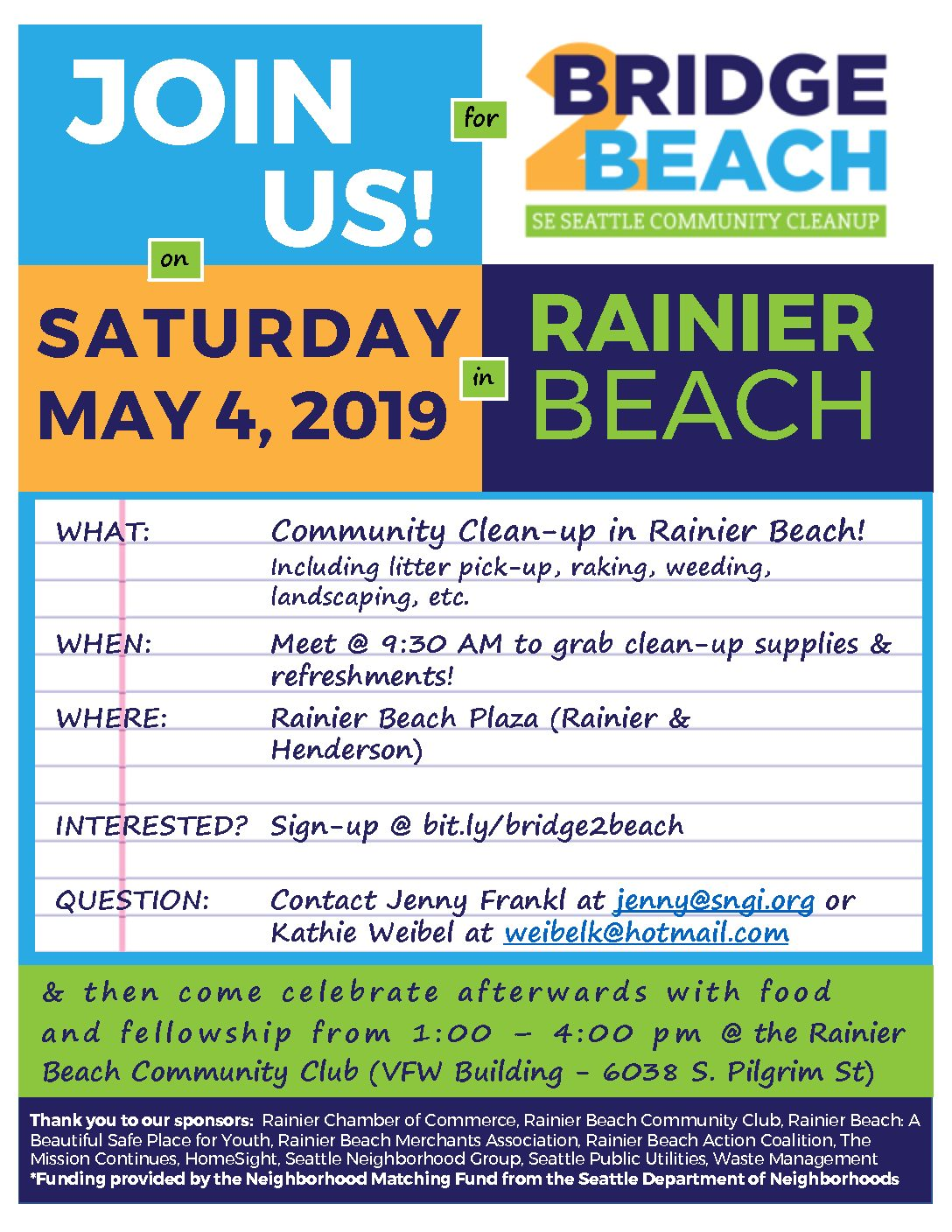 Join Us and SIGN UP  for  the Rainier Beach Bridge 2 Beach Clean Up May 4th!